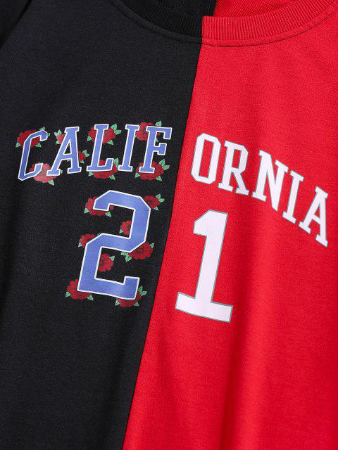 shop ZAFUL California Flower Two Tone Sweatshirt - MULTI M Mobile