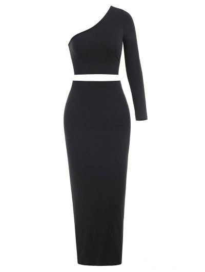 One Shoulder Maxi Skirt Set - Black Xl