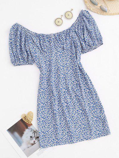 Ditsy Print Puff Sleeve Cupped Dress - Deep Blue L