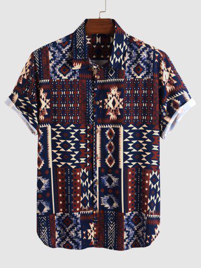 Aztec Print Short Sleeve Shirt - Multi Xl
