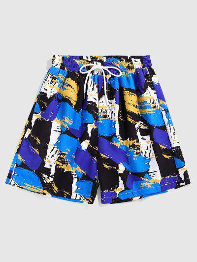 ZAFUL Colorful Paint Print Casual Shorts - Blue Xl