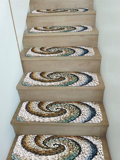 5Pcs Pebbles Vortex Print Fleece Stair Mat Set - Multi 5pcs X 28 X 9 Inch