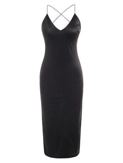 Silky Side Slit Cowl Open Back Slinky Slip Dress - Black L