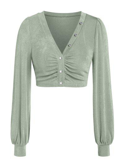 ZAFUL Knitted Button Up Cropped Blouse - Light Green Xl