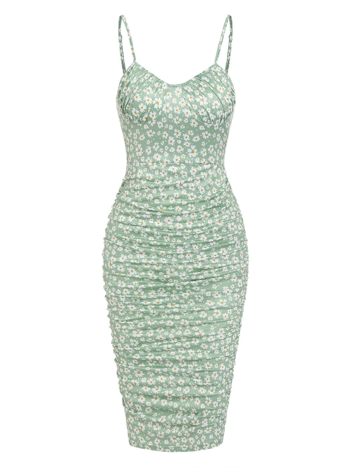 ZAFUL Ditsy Floral Ruched Bodycon Cami Dress