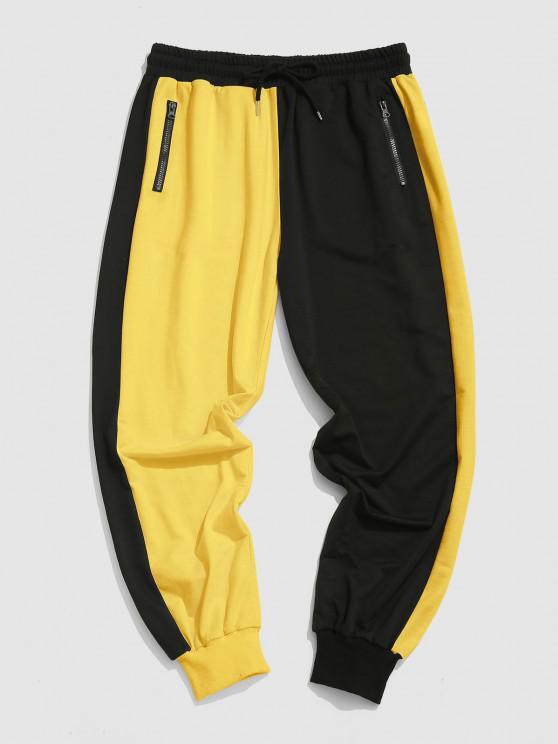 Pantalones Deportivos Contraste Cordones - Amarillo S