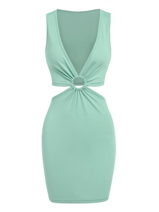 ladies ZAFUL Cut Out Waist O Ring Plunging Slinky Dress - LIGHT GREEN XL