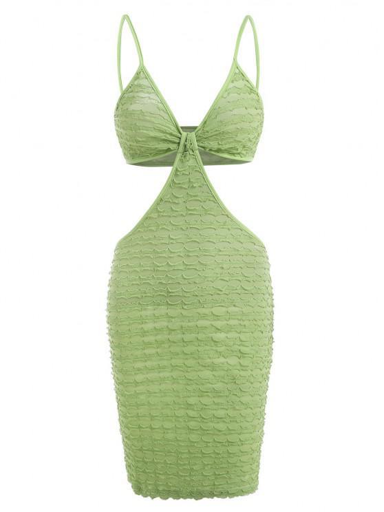 trendy Textured Frilled Knot Cutout Slinky Dress - GREEN S