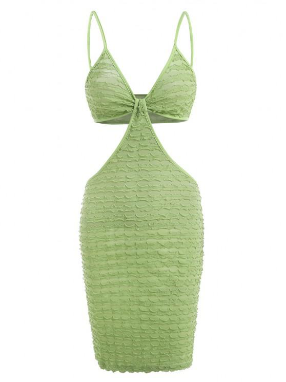 chic Textured Frilled Knot Cutout Slinky Dress - GREEN L