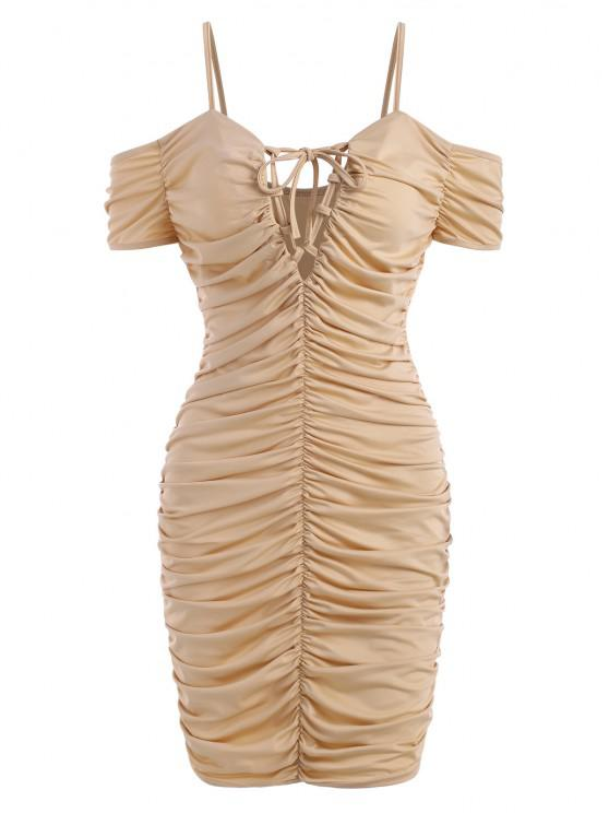 affordable Lace-up Ruched Cold Shoulder Slinky Jersey Dress - LIGHT COFFEE XL