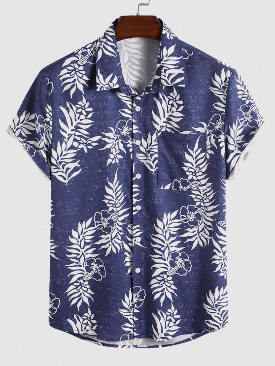 hot Floral Leaf Print Vacation Shirt - BLUE XL