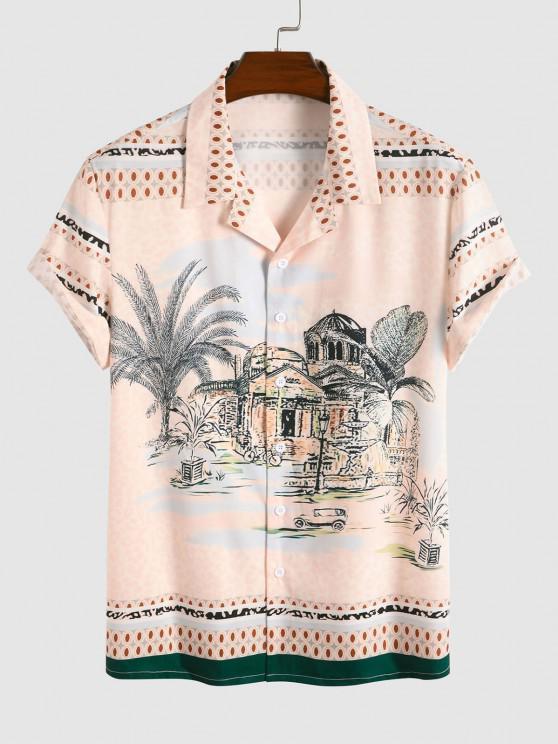 unique Palace Landscape Print Vacation Shirt - MULTI L