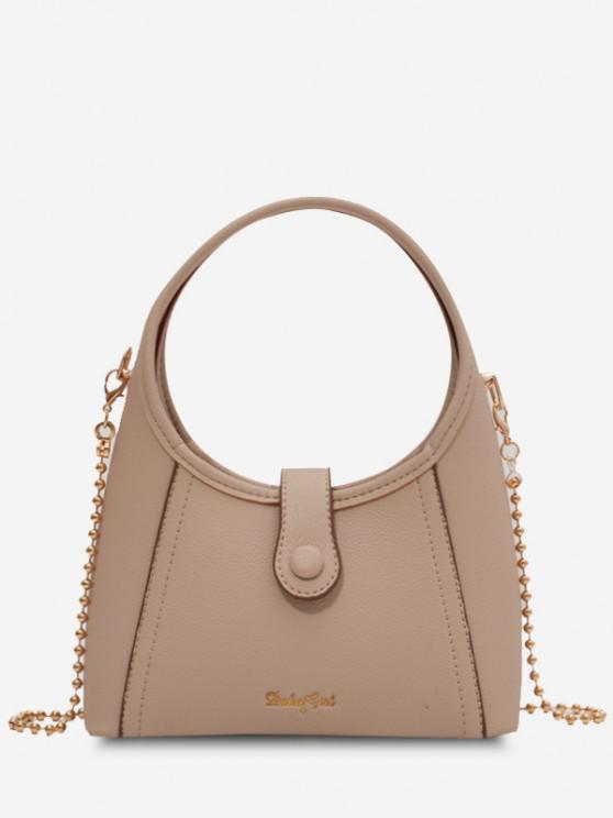 ladies Wide Round Handle Chain Crossbody Bag - LIGHT KHAKI