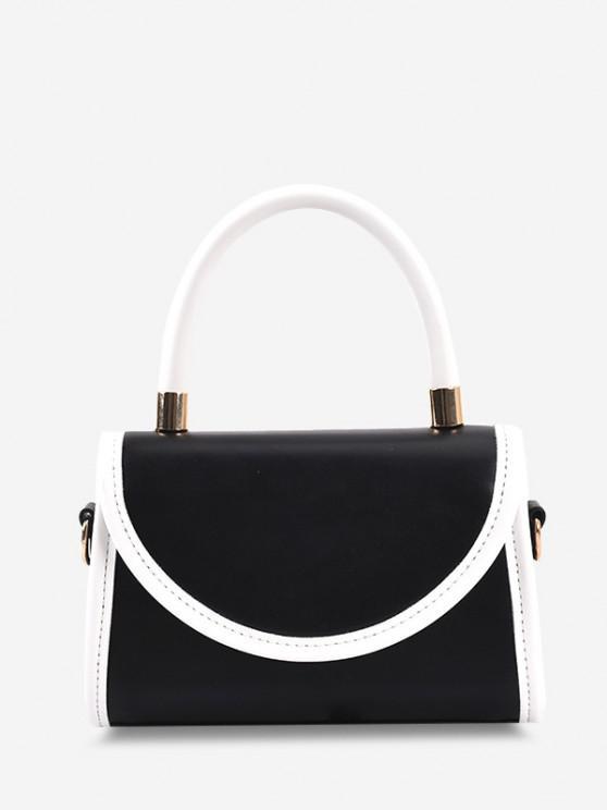 Color Contrast Binding Top Handle Crossbody Bag - أسود