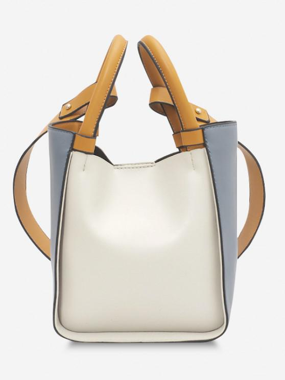 Colorblock Binding Top Handle Crossbody Bag - أزرق