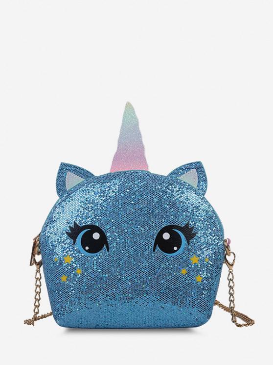 Cartoon Unicorn Sequin Chain Crossbody Bag - أزرق