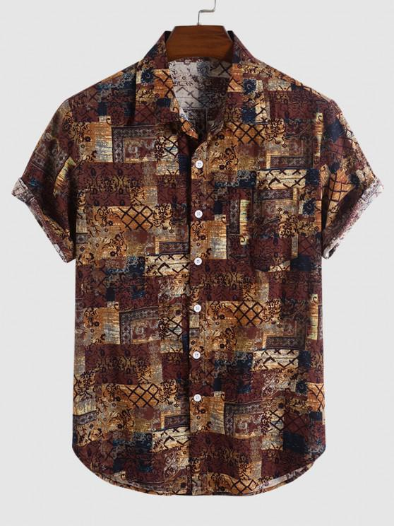 online Tribal Floral Print Short Sleeve Shirt - DEEP COFFEE M