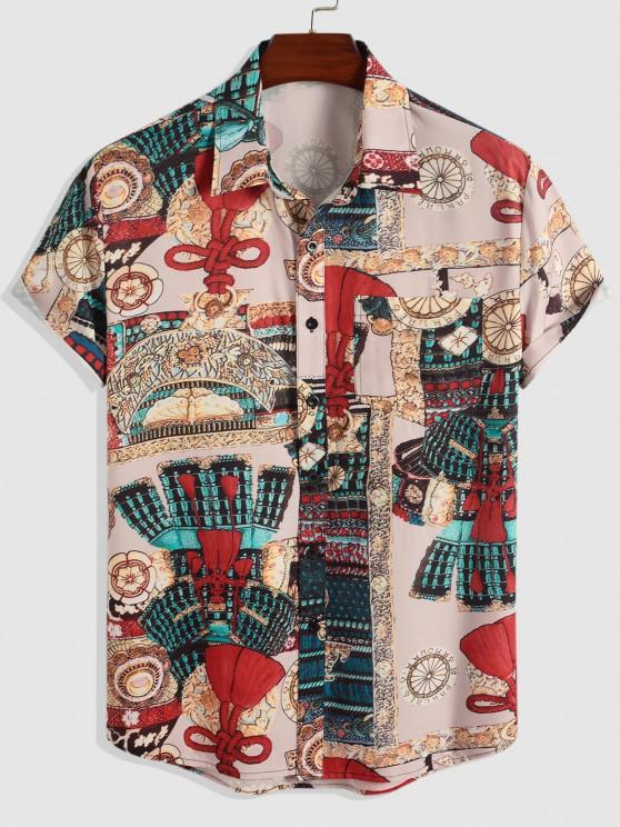 women's Tribal Pattern Vintage Short Sleeve Shirt - LIGHT PINK L