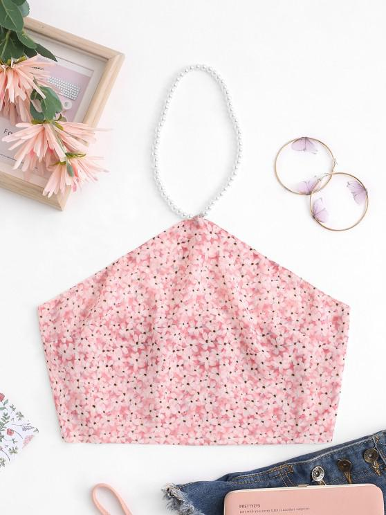 fashion Faux Pearl Halter Floral Double-layered Chiffon Napkin Top - LIGHT PINK S