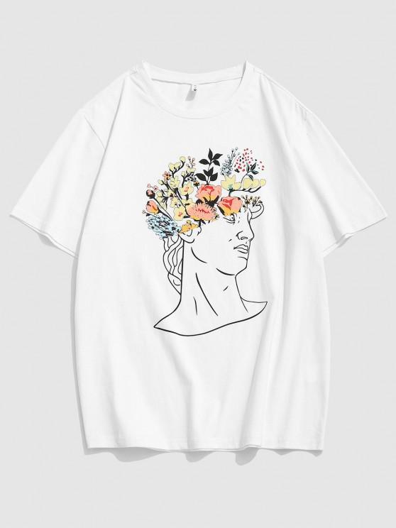 Flower Sculpture Print Short Sleeve T-shirt - أبيض 2XL