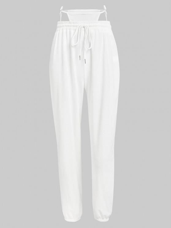 fashion ZAFUL Drawstring G-string Jogger Pants - WHITE S