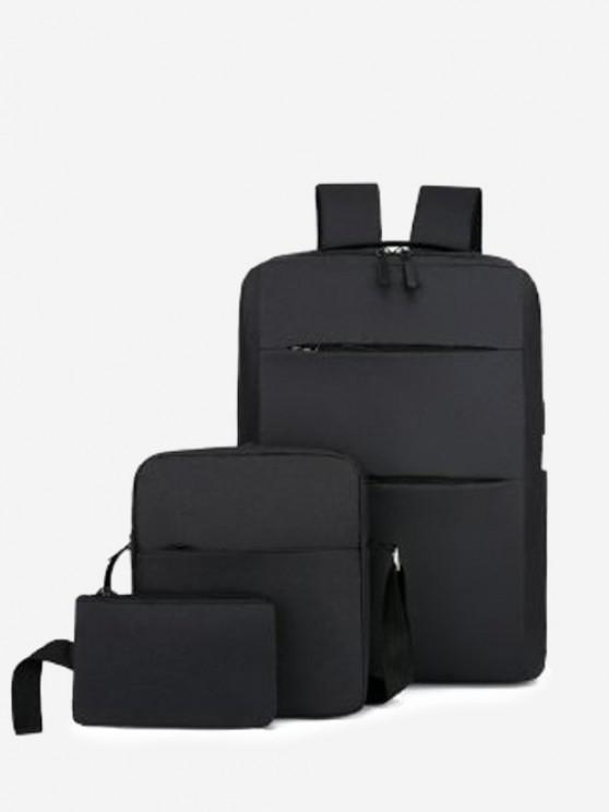 Minimalistic Multi Compartment Backpack With Two Small Bag - أسود