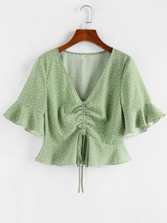 trendy ZAFUL Polka Dot Cinched Flare Sleeve Peplum Blouse - LIGHT GREEN S