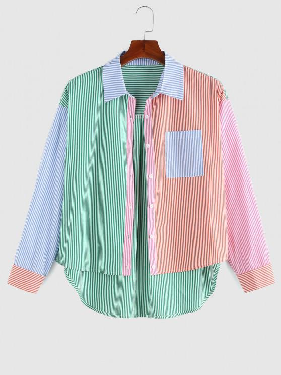 lady ZAFUL Striped Colorblock Pocket High Low Shirt - MULTI S
