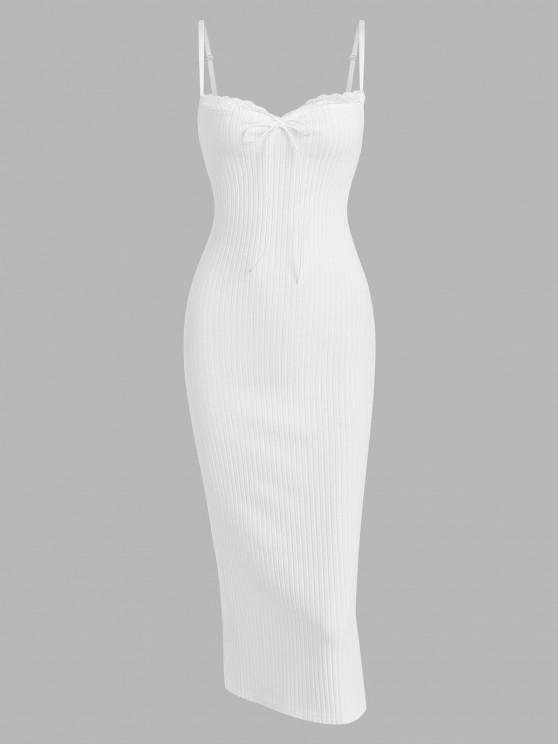 trendy Lace Trim Ribbed Ruched Tie Collar Slinky Dress - WHITE M
