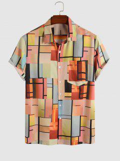 Colored Geometric Print Short Sleeve Shirt - Multi M