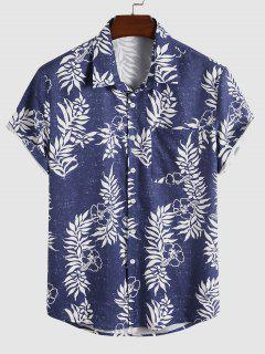 Camicia Stampata Foglie E Fiori Per Le Vacanze - Blu L