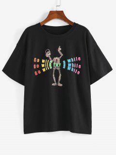 ZAFUL T-shirt Slogan Squelette Arc-en-ciel à Goutte Epaule - Noir Xl