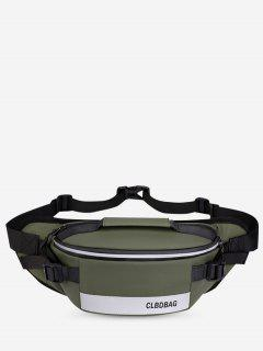Letter Print Double Compartment Top Handle Bum Bag - Army Green