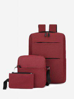 Minimalistic Multi Compartment Backpack With Two Small Bag - Red