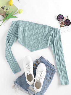 ZAFUL Knitted Off Shoulder Bandana Top - Light Blue S