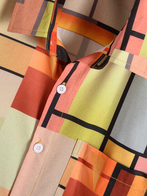 Farbiges Geometrischer Druck Kurzarm Hemd - Multi XXL Mobile