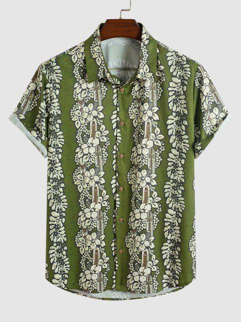 Blumenmuster Kurzarm Urlaub Hemd - Hellgrün S Mobile