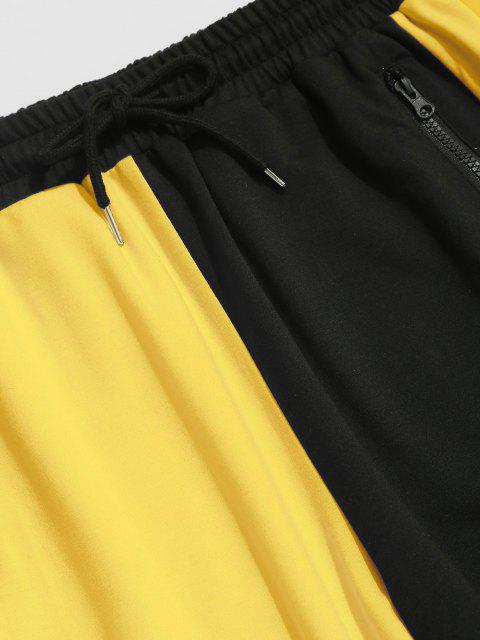 outfits Drawstring Contrast Sports Pants - YELLOW S Mobile