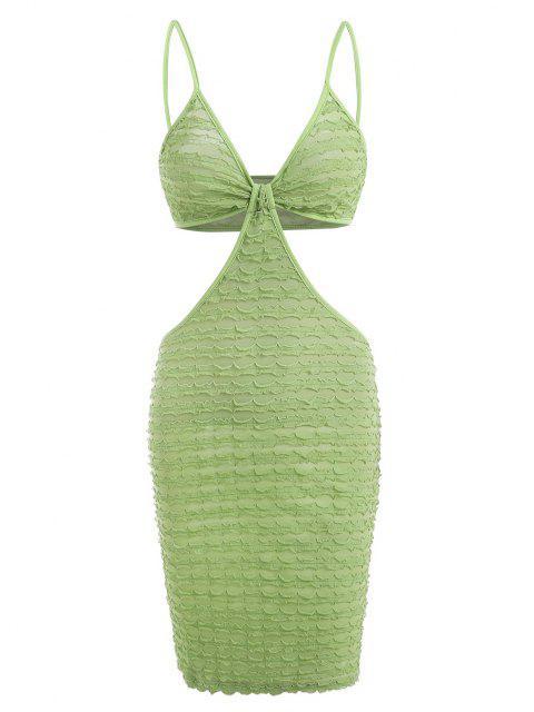 Strukturiertes Kleid mit Gekräuselten Taschenknöpfen - Grün S Mobile