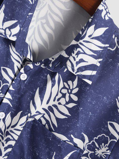 Blumen Blattdruck Urlaub Hemd - Blau XXL Mobile