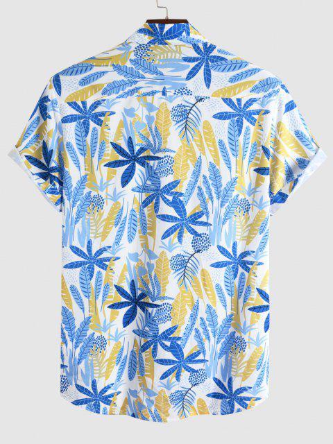 Tropisches Blattdruck Urlaub Hemd - Blau M Mobile