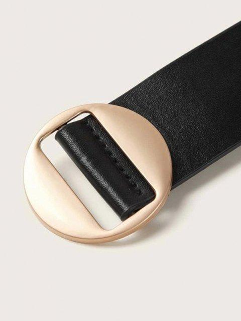 Minimalistischer Goldfarbiger Runder Schnallegürtel - Schwarz  Mobile