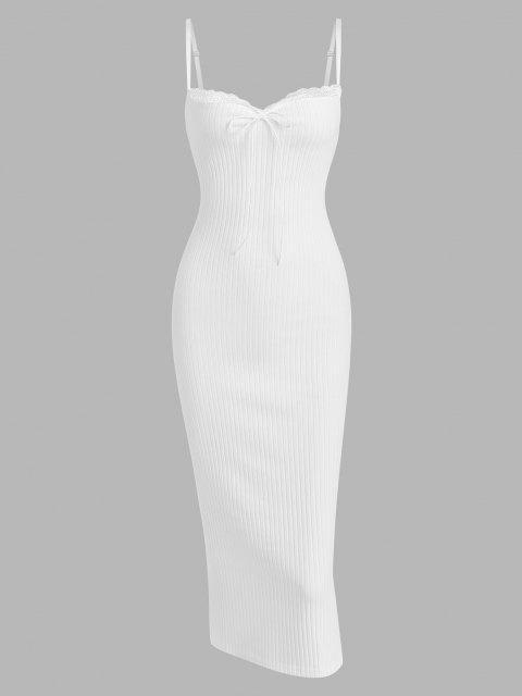Vestido Acanalado con Cuello de Lazo - Blanco S Mobile
