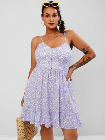 ZAFUL Vestido Floral De Talla Grande De Cami Botones - Luz Púrpura L