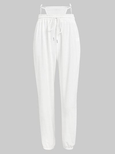 ZAFUL Drawstring G-string Jogger Pants - White L