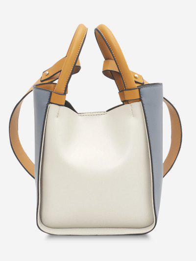 Colorblock Binding Top Handle Crossbody Bag - Blue