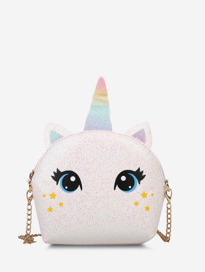 Cartoon Unicorn Sequin Chain Crossbody Bag - White