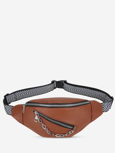 Double Compartment Zig Zag Strap Chain Bum Bag - Brown