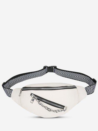 Double Compartment Zig Zag Strap Chain Bum Bag - White