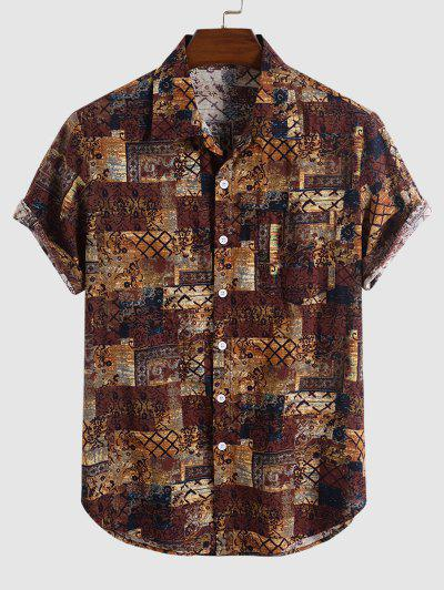 Tribal Floral Print Short Sleeve Shirt - Deep Coffee Xxl